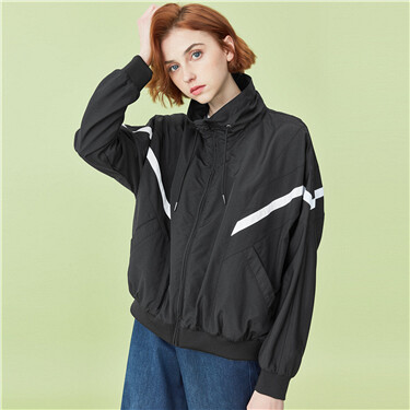 Contrast stand collar jacket