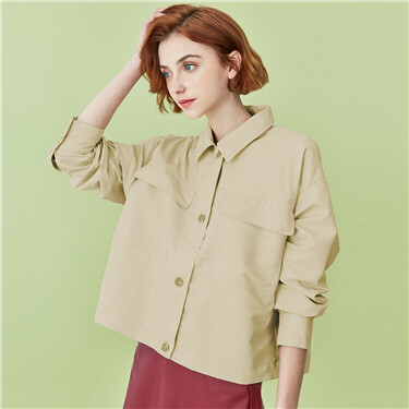 Lightweight turn-down collar solid jacket