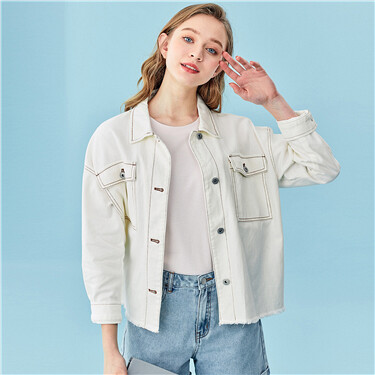 Turn-down collar cargo denim jacket