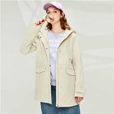 Fleece-lined mid-long hooded jacket