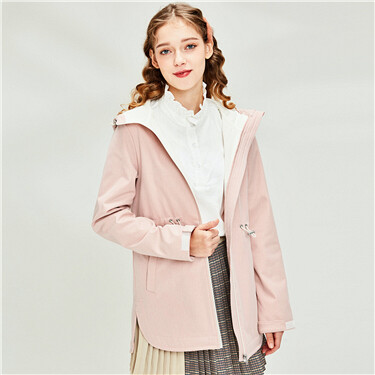 Polar fleece-lined banded-waist hooded jacket