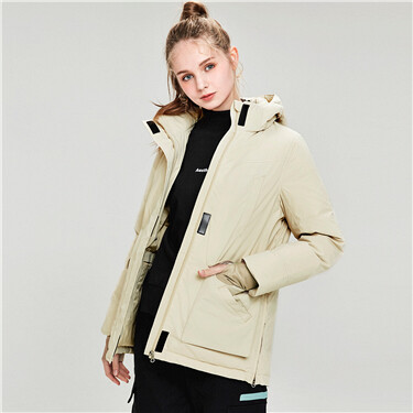 Multi-pocket 90% duck down jacket