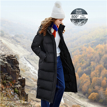 Mid long 90% white goose down jacket