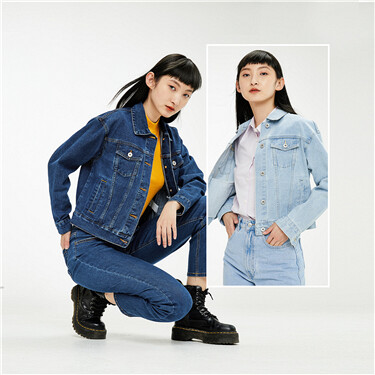 Loose turn-down collar denim jacket