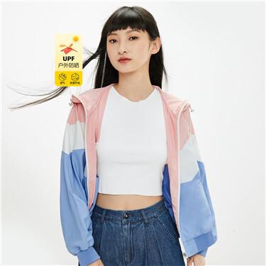 Anti-UV contrast collage lightweight Jacket