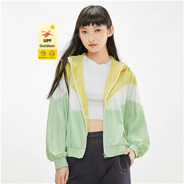 Anti-UV contrast collage lightweight Jacket