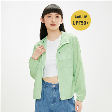 Anti-UV zippered patch pockets jacket