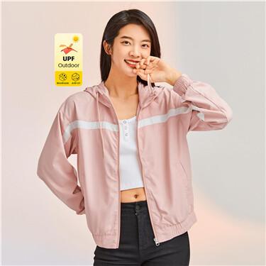 Anti-UV contrast hooded jacket
