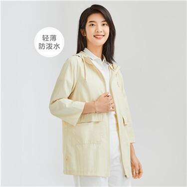 Waterproof loose mid-long hooded jacket