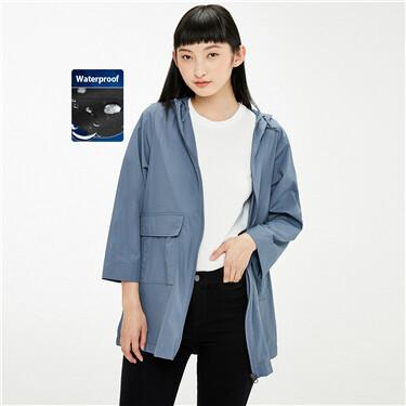 Water repellent loose mid-long hooded jacket