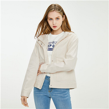 Stretchy loose hooded denim jacket