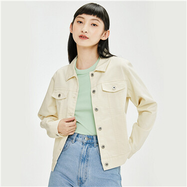 Stretchy loose turn-down collar denim jacket