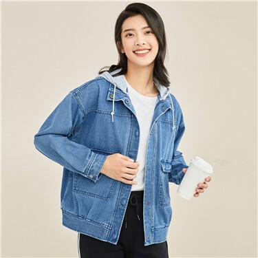 Detachable hood loose denim jacket