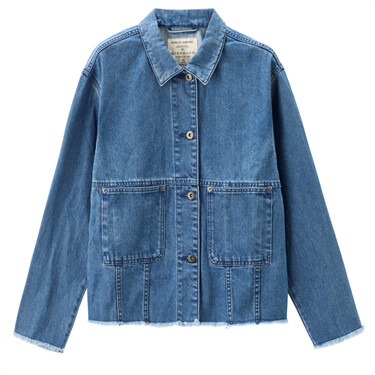 Rough edge loose patch pockets denim jacket