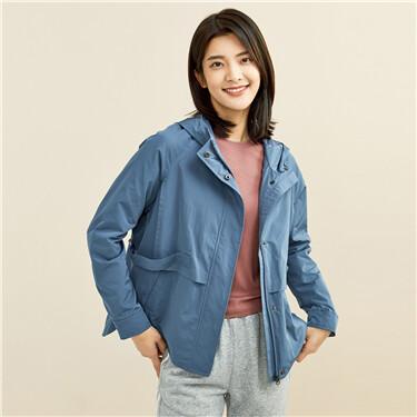 Adjustable waist raglan sleeves hooded jacket