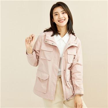 Cargo multi-pocket hooded jacket