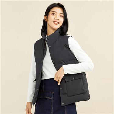 Stand collar 90% grey duck down vest