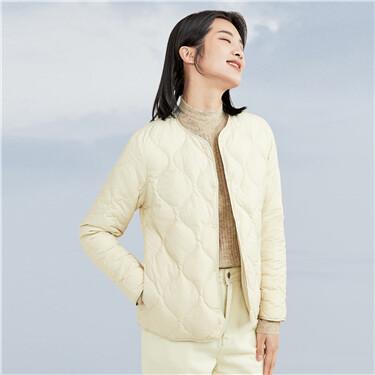 Quilting lightweight crewneck down jacket