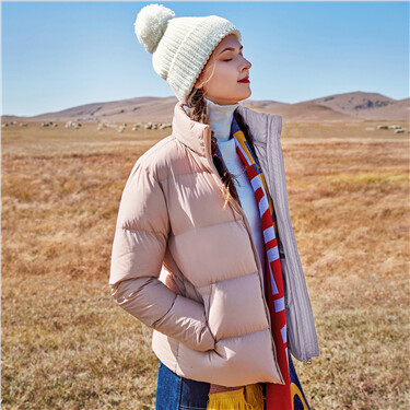 Stand collar 90% white goose down jacket