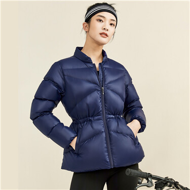 Banded waist white duck down jacket