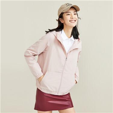 Kanga pocket solid color hooded jacket