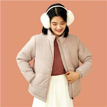 纯色立领拉链开胸棉衣外套