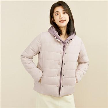 Solid color button closure coat