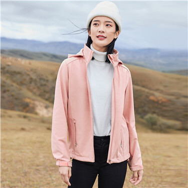 Polar fleece detachable hood jacket