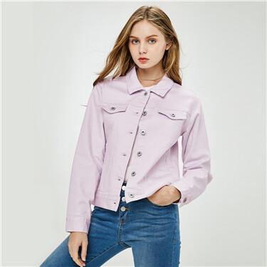 Stretchy turn-down collar denim jacket