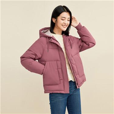 Raglan sleeves padding hooded jacket