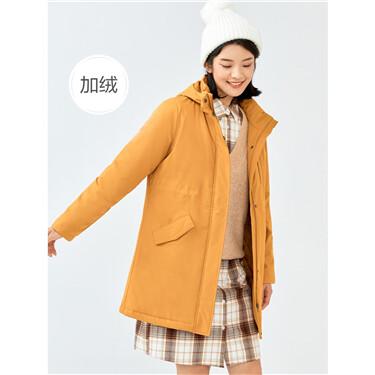 加绒可卸帽束腰中长款棉衣外套