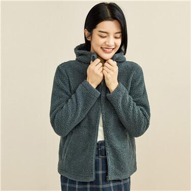 Teddy fleece solid color hoodie