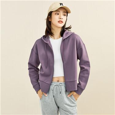 Interlock solid color loose hoodie