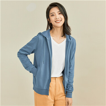 Solid color open placket hooded jacket