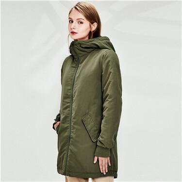 Slant pocket hooded jacket