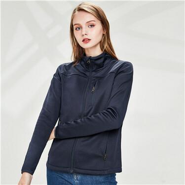 Multi-pocket stand collar jacket