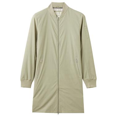 Solid waterproof pockets long bomber jacket