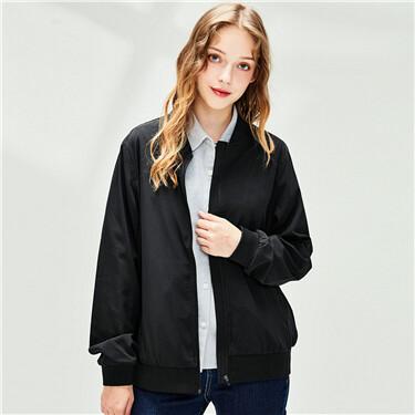 Plain stand collar bomber jacket