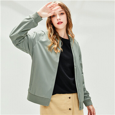 Plain stand collar bomber jacket