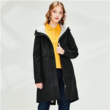 Raglan sleeves hooded mid-long jacket