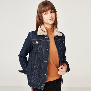 Detachable polyester berber fleece collar denim jacket