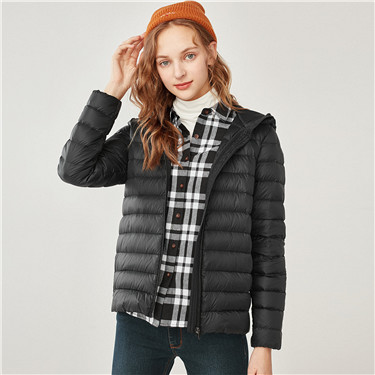 Machine washable lightweight hooded down jacket