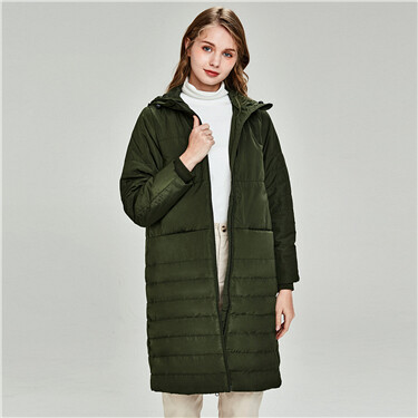 Detachable collar hooded long coat