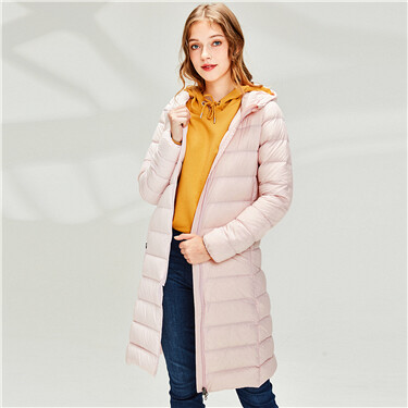 Thin mid-long hooded down jacket