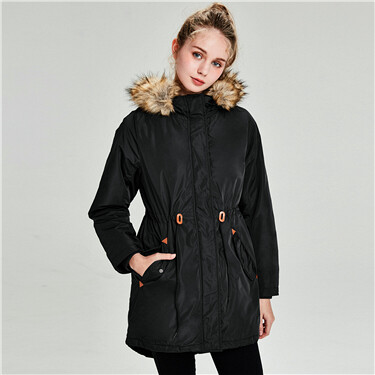 Detachable collar hooded banded-waist long coat