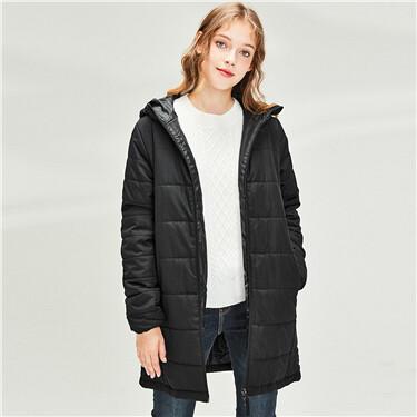 Plain mid-long hooded jacket