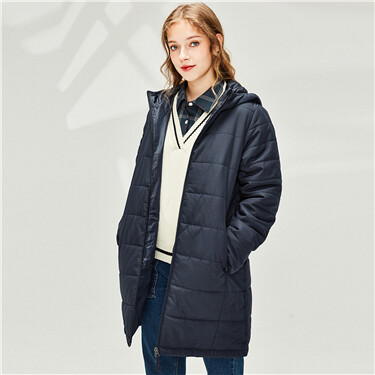 Plain mid-long hooded jacket