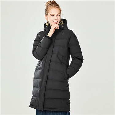 Hooded multi-pocket long down jackets