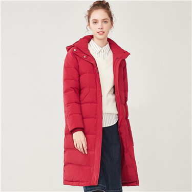 Hooded multi-pocket long down jacket