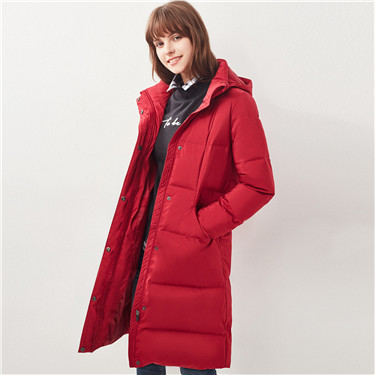 Washable detachable mid-long down jacket